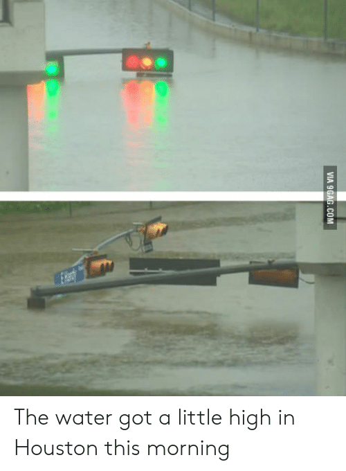 A Little High: VIA 9GAG.COM The water got a little high in Houston this morning