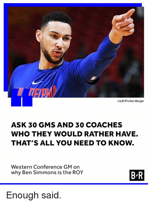 Ken, Western, and Ask: via B/R's Ken Berger  ASK 30 GMS AND 30 COACHES  WHO THEY WOULD RATHER HAVE.  THAT'S ALL YOU NEED TO KNOW  Western Conference GM on  why Ben Simmons is the ROY  B R Enough said.