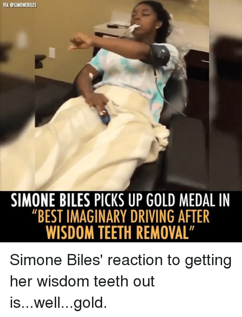 """simone biles: VIA @SIMONEBILES  SIMONE BILES PICKS UP GOLD MEDAL IN  """"BEST IMAGINARY DRIVING AFTER  WISDOM TEETH REMOVAL Simone Biles' reaction to getting her wisdom teeth out is...well...gold."""