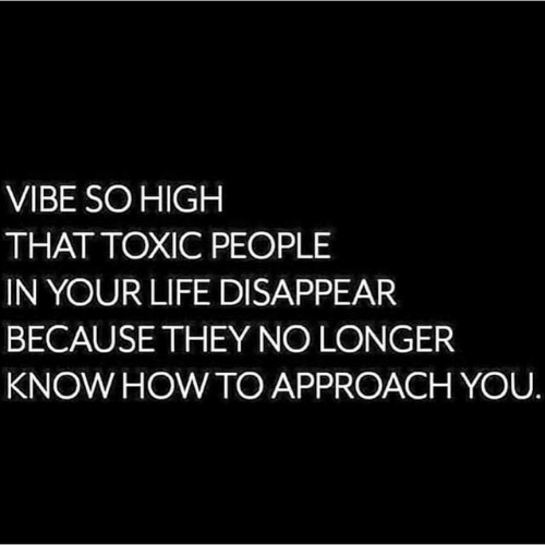so high: VIBE SO HIGH  THAT TOXIC PEOPLE  IN YOUR LIFE DISAPPEAR  BECAUSE THEY NO LONGER  KNOW HOW TO APPROACH YOU.