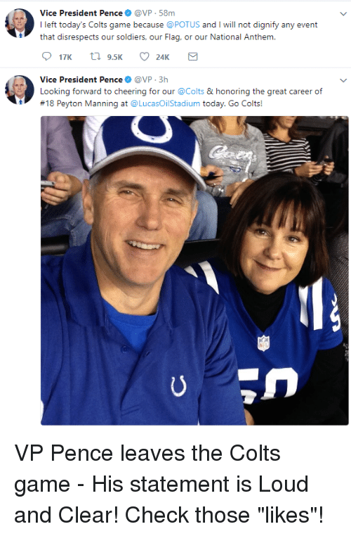 Vice President Pence@VP 58m I Left Today's Colts Game ...