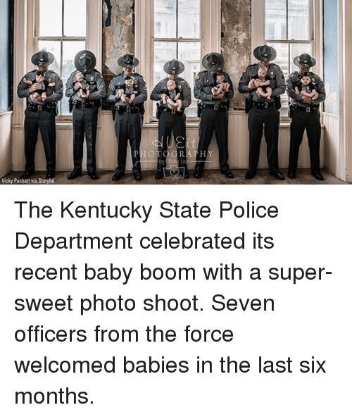 photo shoot: Vicky Puckett via Storyful The Kentucky State Police Department celebrated its recent baby boom with a super-sweet photo shoot. Seven officers from the force welcomed babies in the last six months.