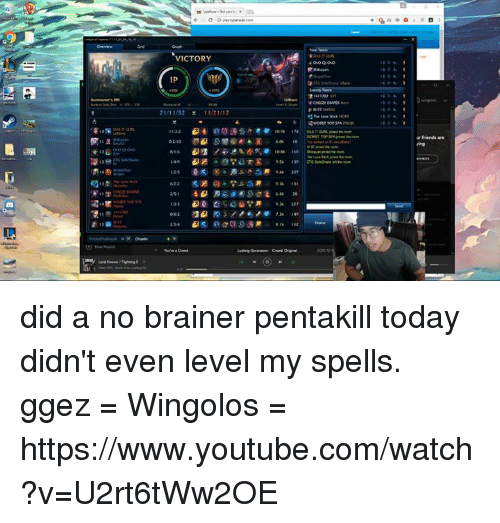 Memes, youtube.com, and Victorious: VICTORY  IP  21/11/32  0210  223  urfriends are did a no brainer pentakill today didn't even level my spells. ggez   = Wingolos =  https://www.youtube.com/watch?v=U2rt6tWw2OE