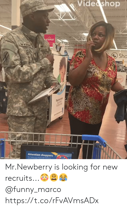 sho: Vide shop  MAYAWAY  NEWBEARY  Sho  14  der  Fiaden mr  frjr  Attention shoppers  ebey  Our degeng ctswock  eing loe beundy The bn  ou Mr.Newberry is looking for new recruits...??? @funny_marco https://t.co/rFvAVmsADx