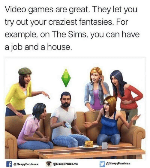 Sims: Video games are great. They let you  try out your craziest fantasies. For  example, on The Sims, you can have  a job and a house.  @SleepyPandame  @SleepyPanda.me  @SleepyPanda.me  AT