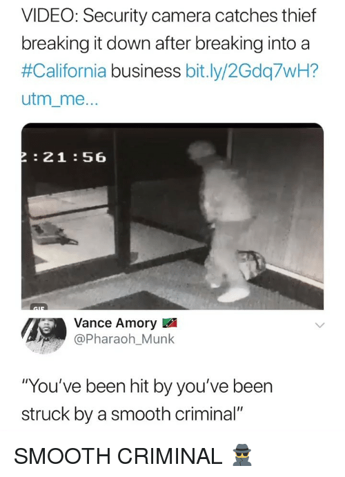 """security camera: VIDEO: Security camera catches thief  breaking it down after breaking into a  #California business bit.ly/2Gdq7WH?  utm_me  :21:56  Vance Amory  Pharaoh_Munk  """"You've been hit by you've been  struck by a smooth criminal"""" SMOOTH CRIMINAL 🕵️♂️"""