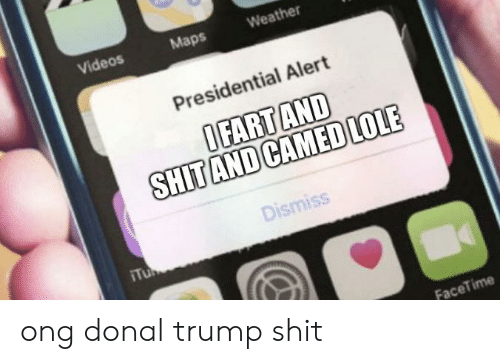 Donal Trump: Videos  Weather  Maps  Presidential Alert  OFART AND  SHITAND CAMEDLOLE  Dismiss  Tu  FaceTime ong donal trump shit