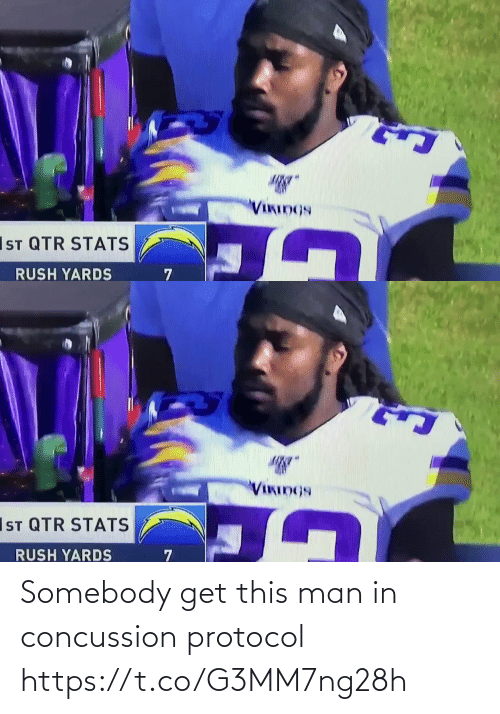 Vikings: VIKIDGS  IST QTR STATS  RUSH YARDS   VIKINGS  IsT QTR STATS  RUSH YARDS Somebody get this man in concussion protocol  https://t.co/G3MM7ng28h