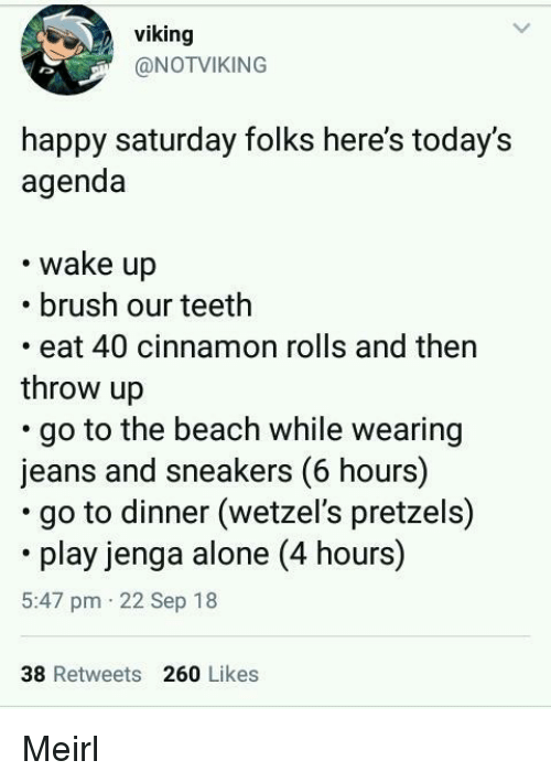 Sneakers: viking  @NOTVIKING  happy saturday folks here's today's  agenda  wake up  .brush our teeth  eat 40 cinnamon rolls and then  throw up  go to the beach while wearing  jeans and sneakers (6 hours)  go to dinner (wetzel's pretzels)  play jenga alone (4 hours)  5:47 pm 22 Sep 18  38 Retweets 260 Likes Meirl