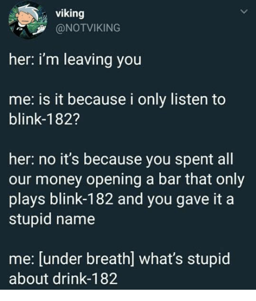 Blink 182: viking  @NOTVIKING  her: i'm leaving you  me: is it because i only listen to  blink-182?  her: no it's because you spent all  our money opening a bar that only  plays blink-182 and you gave it a  stupid name  me: [under breath] what's stupid  about drink-182