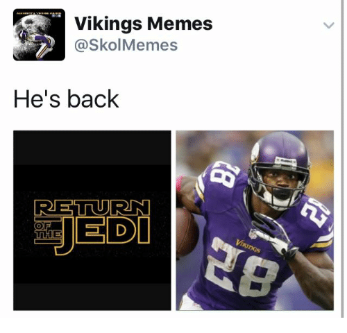 Vikings Memes: Vikings Memes  Skol Memes  He's back  RETURN  JEDI  OF  THE