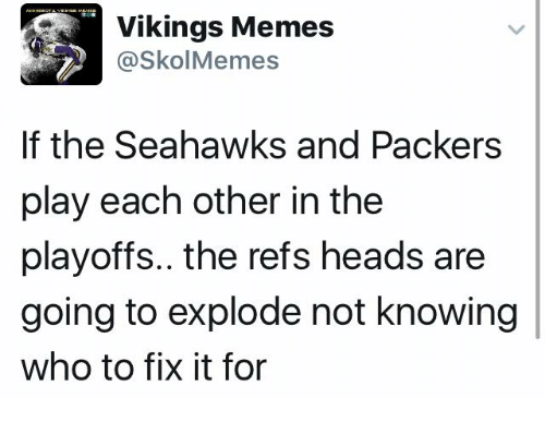 Vikings Memes: Vikings Memes  @Skol Memes  If the Seahawks and Packers  play each other in the  playoffs.. the refs heads are  going to explode not knowing  who to fix it for