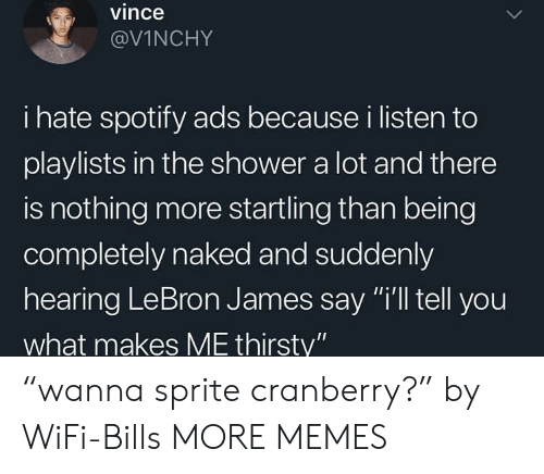 """cranberry: vince  @VİNCHY  i hate spotify ads because i listen to  playlists in the shower a lot and there  is nothing more startling than being  completely naked and suddenly  hearing LeBron James say """"i'll tell you  what makes ME thirsty"""" """"wanna sprite cranberry?"""" by WiFi-Bills MORE MEMES"""