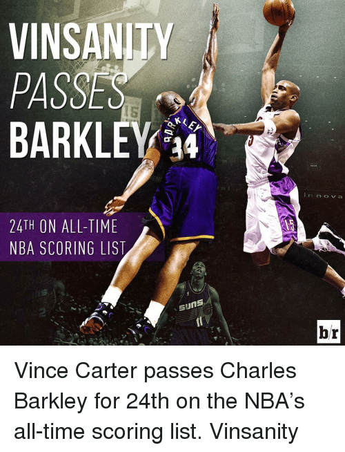 Nba, Sports, and Charles Barkley: VINSAN  PASSES  BARKLEY 14  24TH ON ALL-TIME  NBA SCORING LIST  Suns  n rn CO V a  br Vince Carter passes Charles Barkley for 24th on the NBA's all-time scoring list. Vinsanity