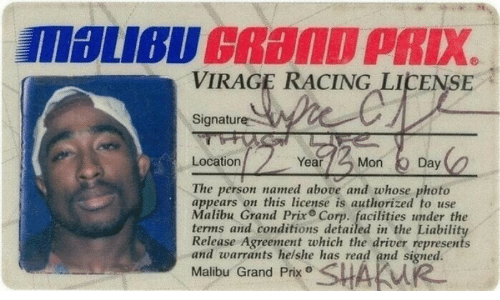 warrants: VIRAGE RACING LICENSE  Signature  Location  Year  Mon Day  The person named above and whose photo  appears on this license is authorized to use  Malibu Grand Prix Corp. facilities under the  terms and conditions detailed in the Liability  Release Agreement which the driver represents  and warrants helshe has read and signed.  Malibu Grand Prx SHAKW