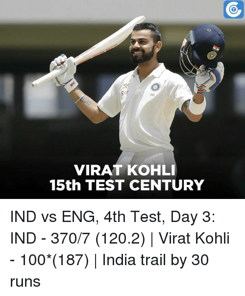 VIRAT KOHLI 15th TEST CENTURY IND vs ENG 4th Test Day 3 ...