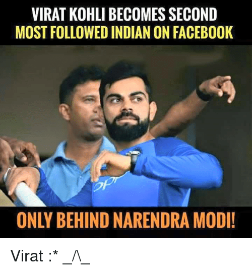 Facebook, Memes, and Indian: VIRAT KOHLI BECOMES SECOND  MOST FOLLOWED INDIAN ON FACEBOOK  ONLY BEHIND NARENDRA MODI! Virat :* _/\_