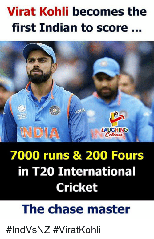 Bailey Jay, Chase, and Cricket: Virat Kohli becomes the  first Indian to score...  NDIA  LAUGHING  Colowrs  7000 runs & 200 Fours  in T20 Internationa  Cricket  The chase master #IndVsNZ #ViratKohli