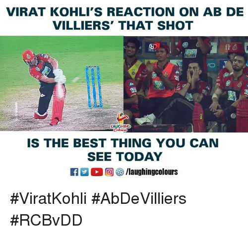 Jio: VIRAT KOHLI'S REACTION ON AB DE  VILLIERS' THAT SHOT  Jio  Jio  LAUGHING  IS THE BEST THING YOU CAN  SEE TODAY  R 。回參/laughingcolours #ViratKohli #AbDeVilliers #RCBvDD