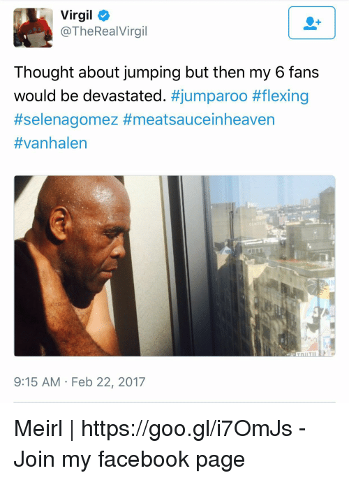 Virgil: Virgil  @TheRealVirgil  Thought about jumping but then my 6 fans  would be devastated. #jumparoo #flexing  #Selenagomez #meatsauceinheaven  #vanhalen  9:15 AM Feb 22, 2017 Meirl | https://goo.gl/i7OmJs - Join my facebook page