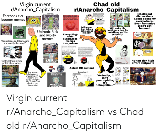 """Anarcho-Capitalism: Virgin current  r/Anarcho_Capitalism  Chad old  r/Anarcho_Capitalism  Intelligent  discussions  about economy  everywhere.  Even commies  didn't got  banned.  Every nuclear weapon that has ever been made has been  made by a government. Every nuclear weapon that has  ever been detonated has been detonated by a government  Only the state, with its insatiable lust for power and its  ability to coereively direct resources away from  productive sectors of the economy that meet public  demand has been able to, or even had the incentive to,  ereate weapons capable of destroying all life on earth.  How it feels...  Oh no.  Dad, the govemment shut  down  When i mention taxation is theft...  Facebook tier  boomer memes  MUH ROADS  When the issue of gun rights comes up  during a holiday dinner with family and you  simply say """"shall not be infringed"""" to  which someone begins to reply if that  includes nukes but are interrupted by a  loudler and more aggressive """"SHALL NOT""""  AND THEN THE GOVERNMENT  TOOK THE ASSAULT GUNS AWAY  UNTIL  NOW!  Come on down to Uncle Ancap's Nothin  But Nukes! My nukes are so cheap and easy  to use that even the poorest child could  easily afford and detonate one in any major  metropolitan area! There's no gun control  remember! Live the libertarian dream by  being the proud owner of hundreds of  nukes! Don't be the last kid on the block to  nuke a city, come on down today!  ROADS  YOU THINK BANNING GUNS WILL  STOP CRIMINALS  AND ALL THE CRIMINALS TERRORIST  AND MURDERERSDECIDED TOOBEY THE LAW  IF THE DONALD  IS QUARANTINED  Self-humor.  Can take a  joke about  himself.  Will nuke his  neighbors dog for  breathing on his  property  Unironic Rick  and Morty  What are  TELL ME MORE ABOUT HOW  CRIMINALS FOLLOW LAWS  Funny Flag-  with-  your political  views?  WHY IS CHAPO  STILL ALLOWED  sunglasses  memes  """"Republicans and Democrats  are exactly the same!""""  memes  everywhere  SAY MY PREFERRED  GENDER PRONOUNS  When you accidentally say"""