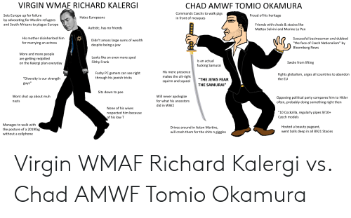 """Salvini: VIRGIN WMAF RICHARD KALERGI  CHAD AMWE TOMIO OKAMURA  Commands Czechs to walk pigs  in front of mosques  Proud of his heritage  Sets Europe up for failure  by advocating for Muslim refugees  and South Africans to plague Europe  Hates Europeans  Friends with chads & stacies like  Autistic, has no friends  Matteo Salvini and Marine Le Pen  His mother disinherited him  Successful businessman and dubbed  Didn't amass large sums of wealth  """"the face of Czech Nationalism"""" by  for marrying an actress  despite being  jew  a  Bloomberg News  More and more people  Looks like an even more  sped  getting redpilled  on the Kalergi plan everyday  are  Is an actual  Filthy Frank  Swole from lifting  fucking Samurai  His mere presence  right  through his jewish tricks  Fashy PC gamers can see  Fights globalism, urges all countries to abandon  makes the alt-right  squirm and squeal  """"Diversity is our strength  guys""""  """"THE JEWS FEAR  the EU  THE SAMURAI""""  Sits down to pee  Will never apologize  Wont shut up about muh  Opposing political party compares him to Hitler  often, probably doing something right then  for what his ancestors  nazis  did in WW2  None of his wives  """"10 Cockzilla, regularly pipes 9/10+  respected him because  of his low T  Czech models  Manages to walk with  the posture of a 2019fag  without a cellphone  Hosted a beauty pageant,  Drives around in Aston Martins,  went balls deep in all 8921 Stacies  will crash them for the shits n giggles Virgin WMAF Richard Kalergi vs. Chad AMWF Tomio Okamura"""