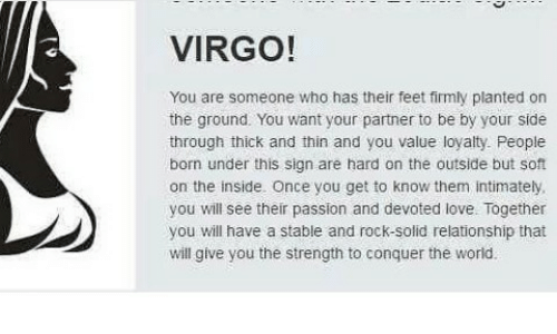VIRGO! You Are Someone Who Has Their Feet Firmly Planted