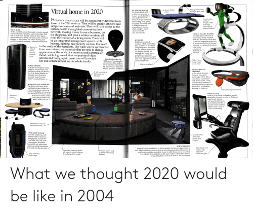 Rollers: Virtual home in 2020  Massage rollers move  the length of the couch  Screen displays  advice  RELAXATION SERVICE  The future family will  be able to relax using a  therapy couch. Sensitive  arms and rollers will  Virtual station  HOMES OF THE FUTURE will be considerably different from  those of the 20th century. They will be energy-efficient and  simple to clean and maintain. They will have access to the  gently massage tired body  aches  parts, easing away  combines  thought control  technology  with artificial  sensory feedback  and pains. The couch will  be linked to a special  physiotherapy service,  which will give expert  advice on health,  diet, and exercise.  outside world via a global communications  network, making it easy to run a business, do  the shopping, and plan a winter vacation, all  from the comfort of a living room. There will  be an integrated management system, with  heating, lighting, and security controls that react  to the needs of the occupants. The walls will be constructed  from new interactive materials that are able to change  appearance at the touch of a button to suit a particular  mood, while high-resolution wraparound video  IDEAL HOME  By the year 2020, some of us might be lucky enough  to live in homes with all the latest technology. They  will be built from durable materials that require  little maintenance. Fully automated, they will react  changes in the weather and adjust heating and  cooling controls to maintain a pleasant environment.  VIRTUAL REALITY TRAINER  The 2020 home will have its  own virtual reality machine.  With this, the family will be able  to practice dangerous sports such  as mountain climbing or bungee  jumping, or visit exotic locations  on a virtual  vacation at  the touch of  WRIST SET  Unlike conventional  watches, which only tell the  time and date or do simple  computing tasks, this wrist  set will provide information  the wearer desires, for  example, the sports scores  or traffic reports. Suc