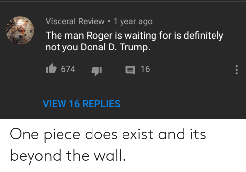 Donal D Trump: Visceral Review . 1 year ago  The man Roger is waiting for is definitely  not you Donal D. Trump.  674  16  VIEW 16 REPLIES One piece does exist and its beyond the wall.