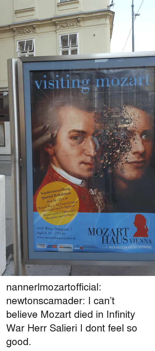 immortality: visiting mozart  Sonderausstellung  Special Exhibition  16.2.18 -27. 1.19  Mozarts Weg in die Unsterblichkeit.  Das Conie und die Nachwelt  Mozart's path to immortality  The genius and his legacy  1010 Wien, Domgasse 5  tigaeh ae o uhareMOZART  www.mozarthausvienna.at  HAUS VIENNA  mjt WIEN MUSEUM MOZARTWOHNUNG  mehr wien zum leben  Österreichische  Nationalbibliothek nannerlmozartofficial:  newtonscamader: I can't believe Mozart died in Infinity War Herr Salieri I dont feel so good.