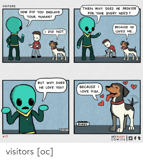 how-did-you: VISITORS  THEN WHY DOES HE PROVIDE  HOW DID YOU ENSLAVE  FOR YOUR EVERY NEED?  YOUR HUMAN?  BECAUSE HE  I DID NOT.  LOVES ME.  BUODY UOY  BUT WHY DOES  HE LOVE YOU?  BECAUSE I  LOVE HIM.  BUDDY  BUDDY  2414  #15  HEYBUDDY  COMICS visitors [oc]
