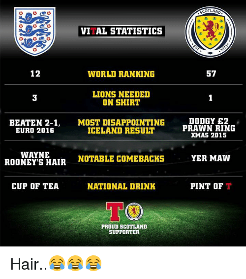disappoint: VITAL STATISTICS  12  WORLD RANKING  LIONS NEEDED  ON SHIRT  BEATEN 2-1  MOST DISAPPOINTING  ICELAND RESULT  EURO 2016  WAYNE  NOTABLE COMEBACK  ROONEY S HAIR  CUP OF TEA  NATIONAL DRINK  TOO  PROUD SCOTLAND  SUPPORTER  SCOTLAND  57  DODGY E2  PRAWN RING  XMAS 2015  YER MAW  PINT OF  T Hair..😂😂😂