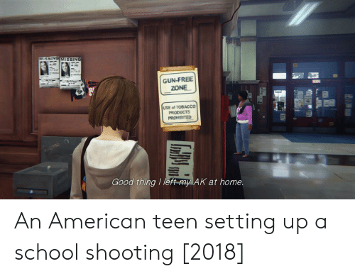 school shooting: VMISSING MISSING  GUN-FREE  ZONE  USE of TOBACCO  PRODUCTS  Good thing / left-my AK at home. An American teen setting up a school shooting [2018]
