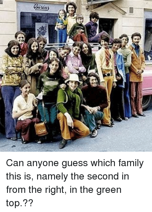 Memes, 🤖, and Anyoning: vnm2 Can anyone guess which family this is, namely the second in from the right, in the green top.??