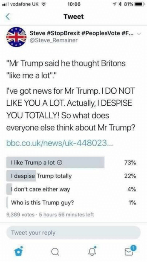 """Memes, News, and Trump: vodafone UK  10:06  * 81%  Tweet  Steve #StopBrexit #PeoplesVote #F-.  @Steve Remainer  """"Mr Trump said he thought Britons  ike me a lot"""".""""  I've got news for Mr Trump. I DO NOT  LIKE YOU A LOT. Actually, I DESPISE  YOU TOTALLY! So what does  everyone else think about Mr Trump?  bbc.co.uk/news/uk-448023  I like Trump a lot  I despise Trump totally  I don't care either way  Who is this Trump guy?  73%  22%  4%  1%  9,389 votes 5 hours 56 minutes left  Tweet your reply"""