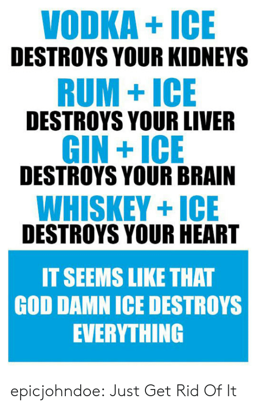 gin: VODKA+ICE  DESTROYS YOUR KIDNEYS  RUM+ICE  DESTROYS YOUR LIVER  GIN +ICE  DESTROYS YOUR BRAIN  WHISKEY+ICE  DESTROYS YOUR HEART  IT SEEMS LIKE THAT  GOD DAMN ICE DESTROYS  EVERYTHING epicjohndoe:  Just Get Rid Of It