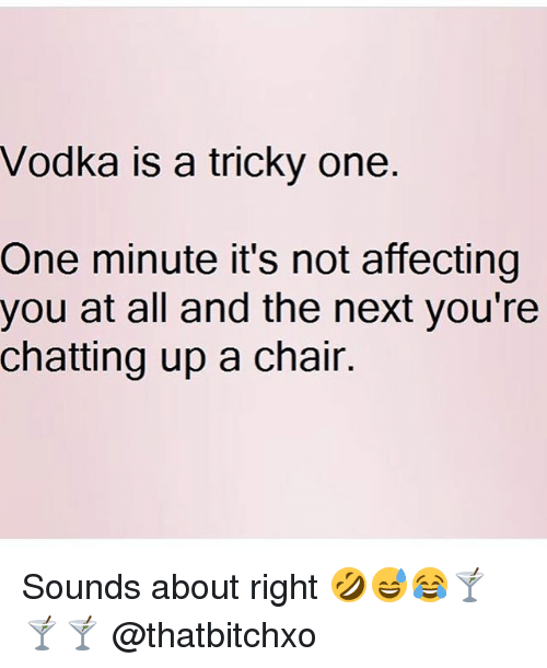 Memes, Vodka, and Chair: Vodka is a tricky one  One minute it's not affecting  you at all and the next you're  chatting up a chair. Sounds about right 🤣😅😂🍸🍸🍸 @thatbitchxo