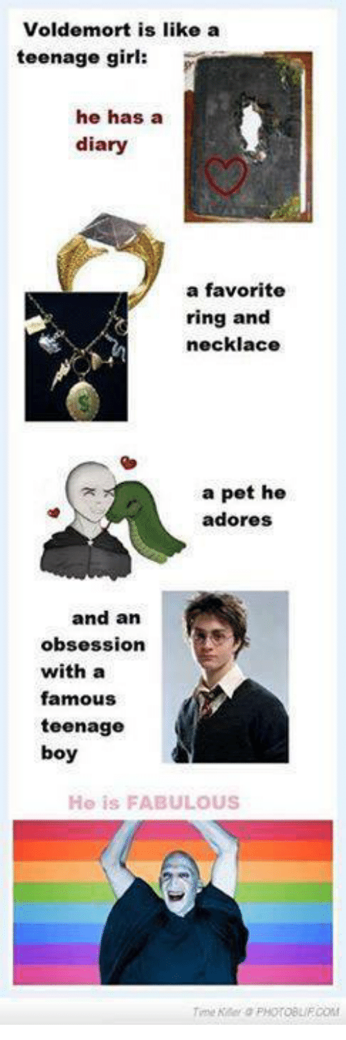 teenage girl: Voldemort is like a  teenage girl:  he has a  diary  a favorite  ring and  necklace  a pet he  adores  and an  obsession  with a  famous  teenage  boy  Ho is FABULOUS