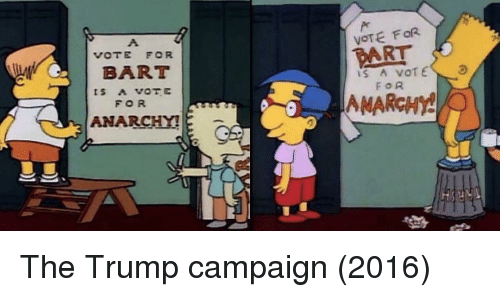 Anarchy: VOTE FOR  PART  VOTE FOR  BART  FOR  ANARCHY!  FOR  MARCHY The Trump campaign (2016)