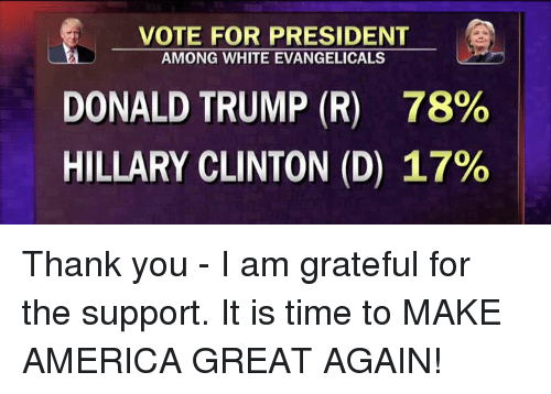 America, Dank, and Donald Trump: VOTE FOR PRESIDENT  AMONG WHITE EVANGELICALS  DONALD TRUMP (R) 78%  HILLARY CLINTON (D) 17% Thank you - I am grateful for the support. It is time to MAKE AMERICA GREAT AGAIN!