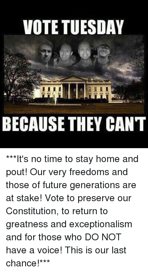 memes: VOTE TUESDAY  BECAUSE THEY CANT ***It's no time to stay home and pout!  Our very freedoms and those of future generations are at stake!  Vote to preserve our Constitution, to return to greatness and exceptionalism and for those who DO NOT have a voice!  This is our last chance!***