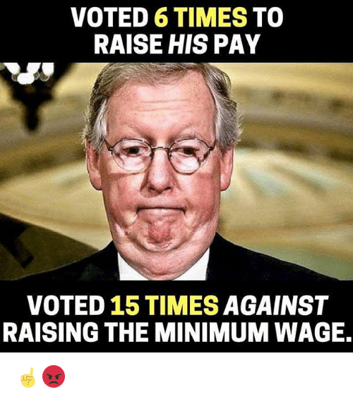 Memes, Minimum Wage, and 🤖: VOTED 6 TIMES TO  RAISE HIS PAY  VOTED 15 TIMES AGAINST  RAISING THE MINIMUM WAGE. ☝️😡