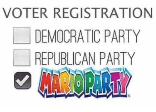 Democratic Party, Republican Party, and Dank Memes: VOTER REGISTRATION  DEMOCRATIC PARTY  REPUBLICAN PARTY