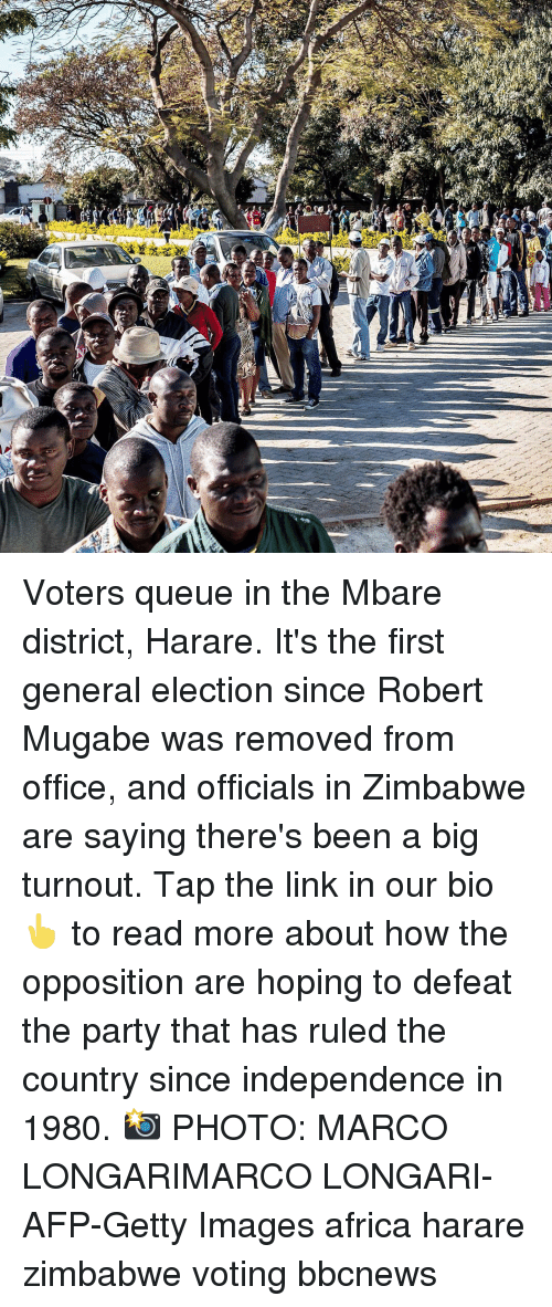 mugabe: Voters queue in the Mbare district, Harare. It's the first general election since Robert Mugabe was removed from office, and officials in Zimbabwe are saying there's been a big turnout. Tap the link in our bio 👆 to read more about how the opposition are hoping to defeat the party that has ruled the country since independence in 1980. 📸 PHOTO: MARCO LONGARIMARCO LONGARI-AFP-Getty Images africa harare zimbabwe voting bbcnews