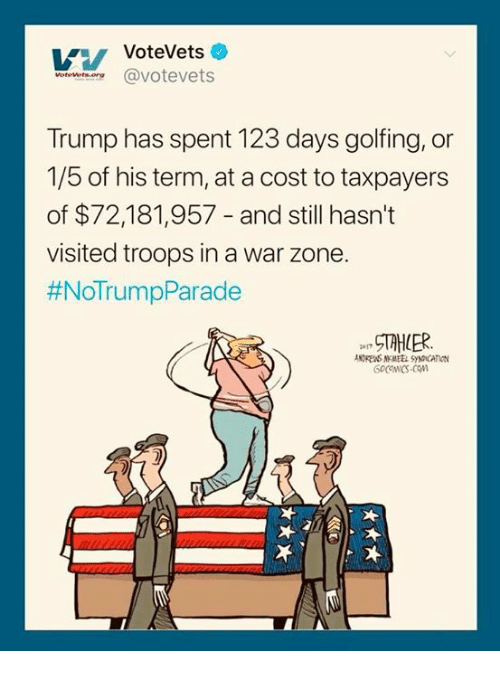 Golfing: VoteVets  worewet.oereavotevets  Trump has spent 123 days golfing, or  1/5 of his term, at a cost to taxpayers  of $72,181,957 - and still hasn't  visited troops in a war zone.  #NoTrumpParade  NDRENS NMEEL SYNDICATION
