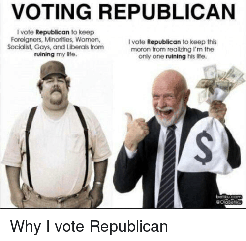 Voting Republican: VOTING REPUBLICAN  I vote Republican to keep  Foreigners, Minorities, Women,  Socialist, Gays, and Liberals from  ruining my life.  I vote Republican to keep this  moron from realizing I'm the  only one ruining his life.  betiku