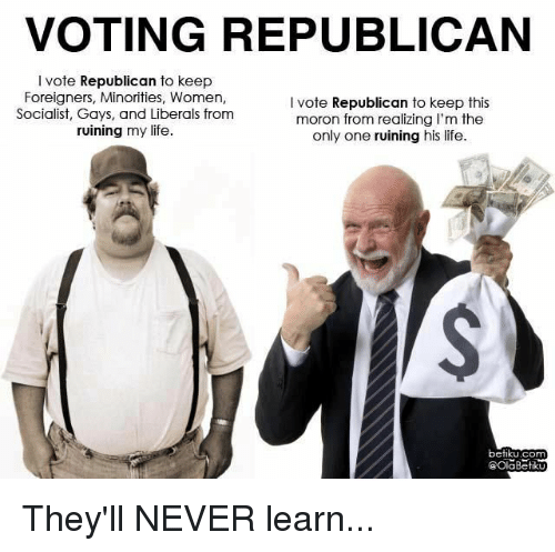 Voting Republican: VOTING REPUBLICAN  I vote Republican to keep  Foreigners, Minorities, Women,  Socialist, Gays, and Liberals from  ruining my life.  I vote Republican to keep this  moron from realizing I'm the  only one ruining his life.  betiku.com  @OlaBetik