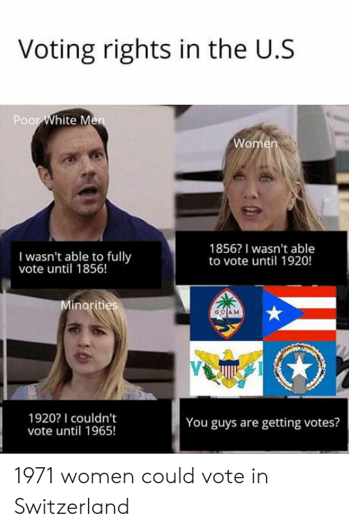 Voting Rights: Voting rights in the U.S  Poor  I wasn't able to fully  vote until 1856!  1856? I wasn't able  to vote until 1920!  GUAM  1920I couldn't  vote until 1965!  You guys are getting votes? 1971 women could vote in Switzerland