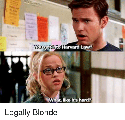 legally blondes: Vougot into Harvard Law?  What, like it's hard? Legally Blonde