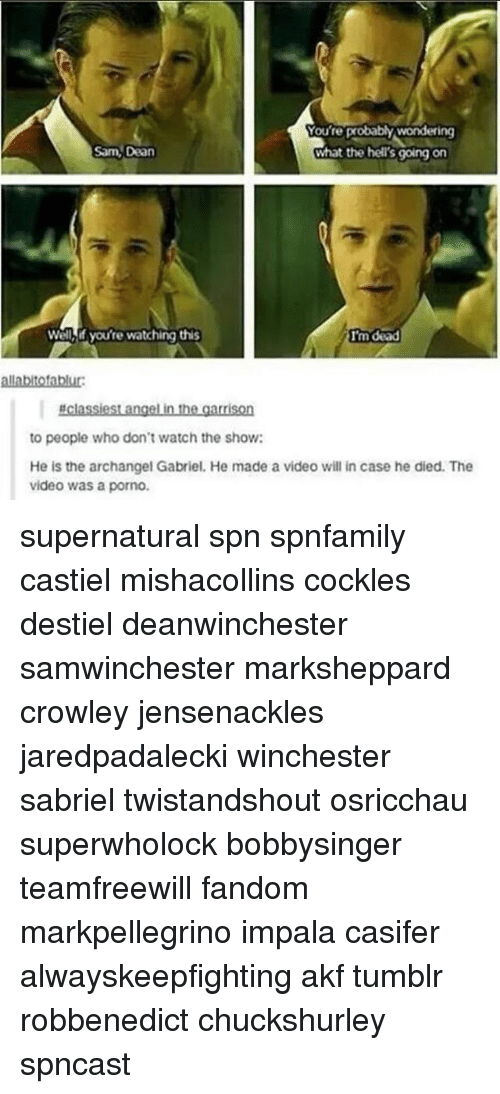Memes, Tumblr, and Angel: Vou're probablywondering  Sam, Dean  What the hell's going on  Well,if you're watching this  allabltofablur:  #classiest angel in the garrison  to people who don't watch the show:  He is the archangel Gabriel. He made a video will in case he died. The  video was a porno. supernatural spn spnfamily castiel mishacollins cockles destiel deanwinchester samwinchester marksheppard crowley jensenackles jaredpadalecki winchester sabriel twistandshout osricchau superwholock bobbysinger teamfreewill fandom markpellegrino impala casifer alwayskeepfighting akf tumblr robbenedict chuckshurley spncast